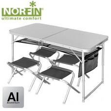 Стол складной Norfin RUNN  алюминиевый  + 4 стула набор